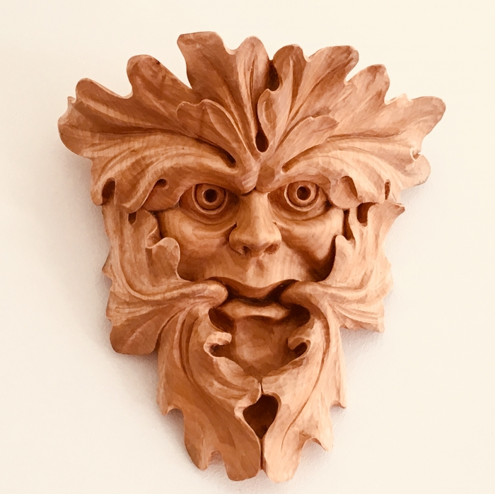 Cumberworth Green Man. Limewood. W: 10in (250mm)
