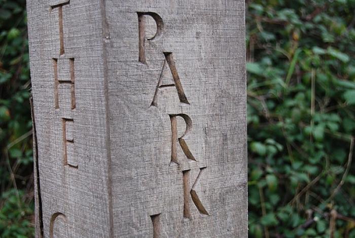 Lettered Post from Kinnersley Art Project. Oak
