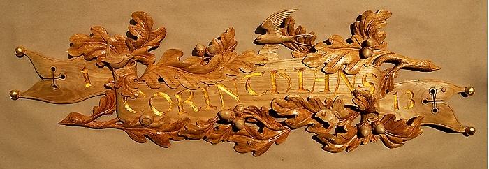 1. Corinthians. 13 Oak, gilded W 29in