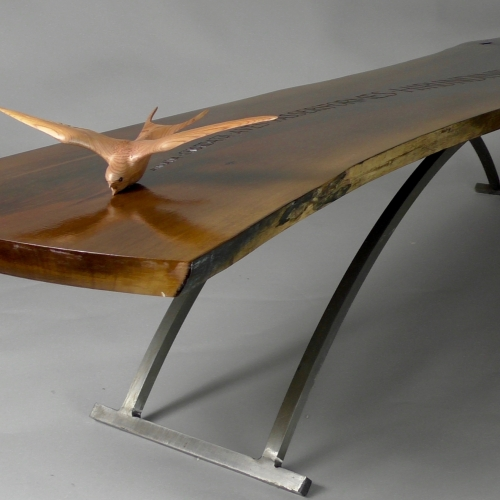 Swallow Table - Walnut 54in. 1.3m. Bird - Yew wood