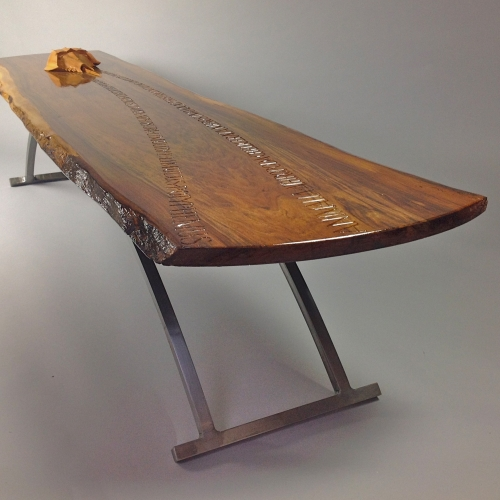 Horseshoe Crab Table Elm wood 76in. (1800mm). Crab: Yew wood. Actual Size