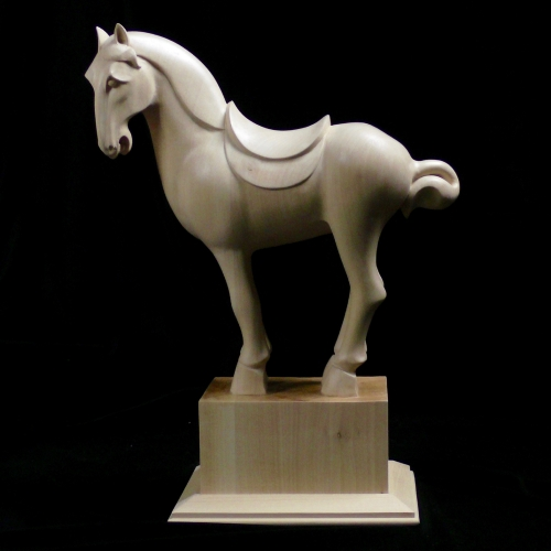Tang Horse. Limewood 18in